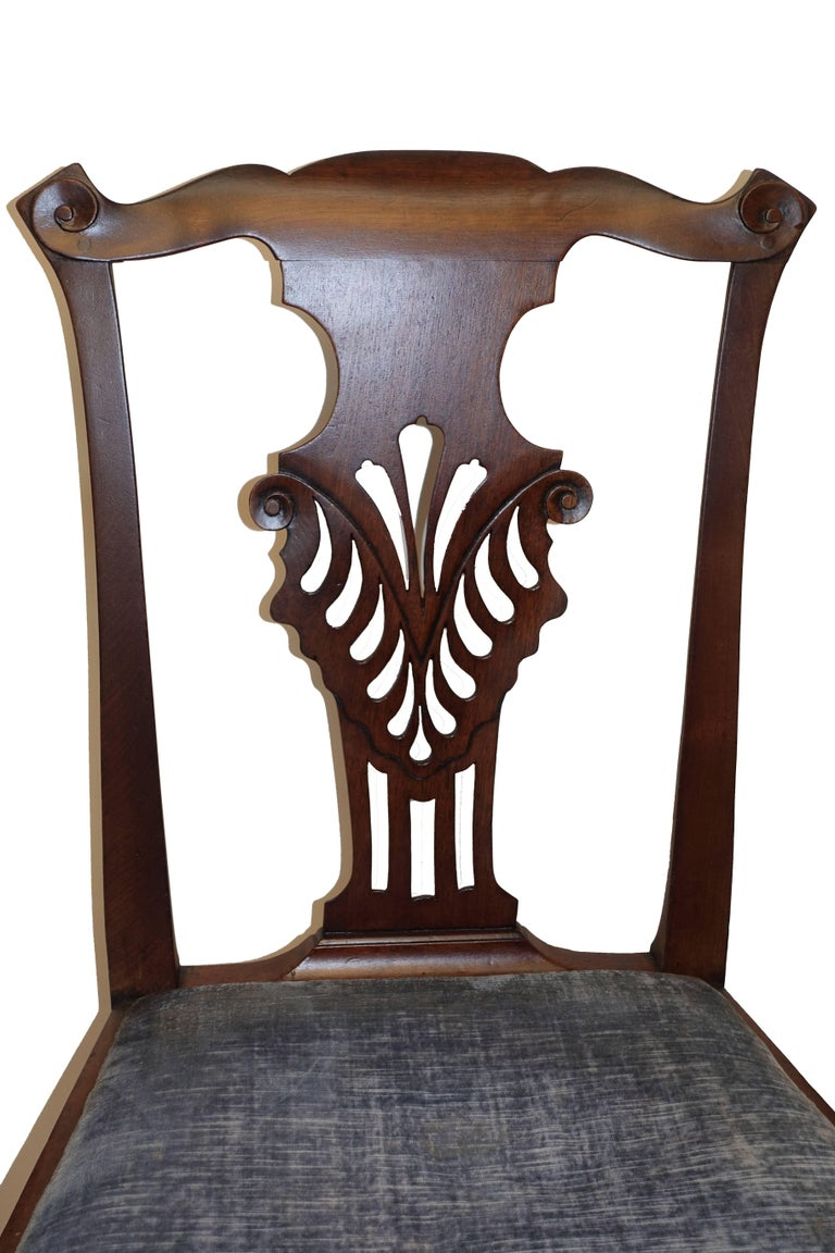 Set of Six Chippendale Style Walnut Dining Chairs circa 1800 2