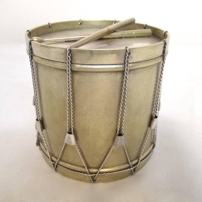 19th Century Drum Shape Silver Gilt Bronze Box 2