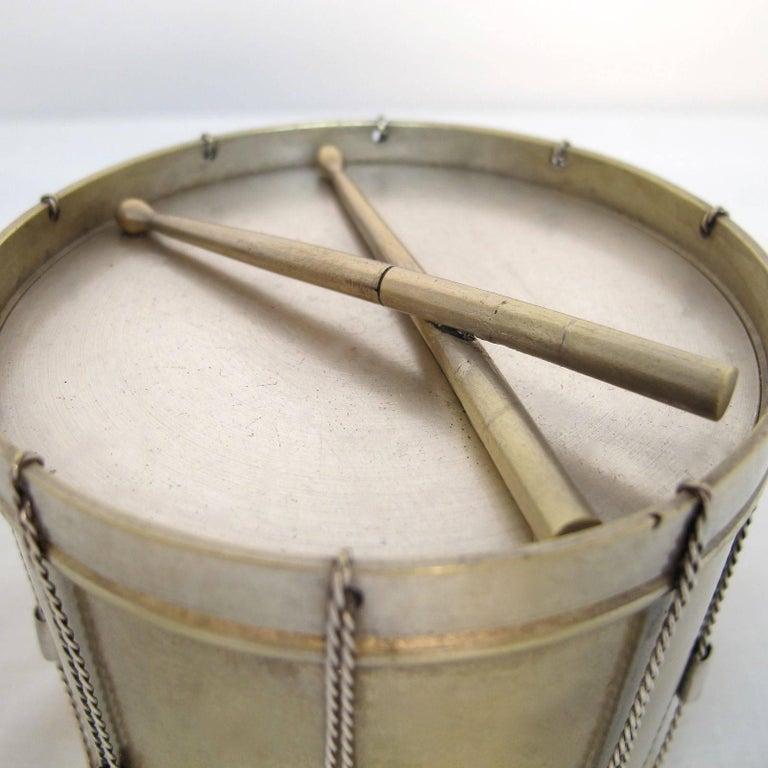 19th Century Drum Shape Silver Gilt Bronze Box 3