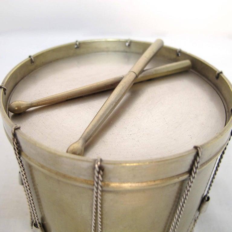 19th Century Drum Shape Silver Gilt Bronze Box 4