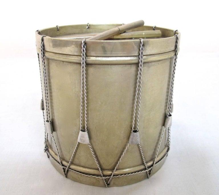 19th Century Drum Shape Silver Gilt Bronze Box 5