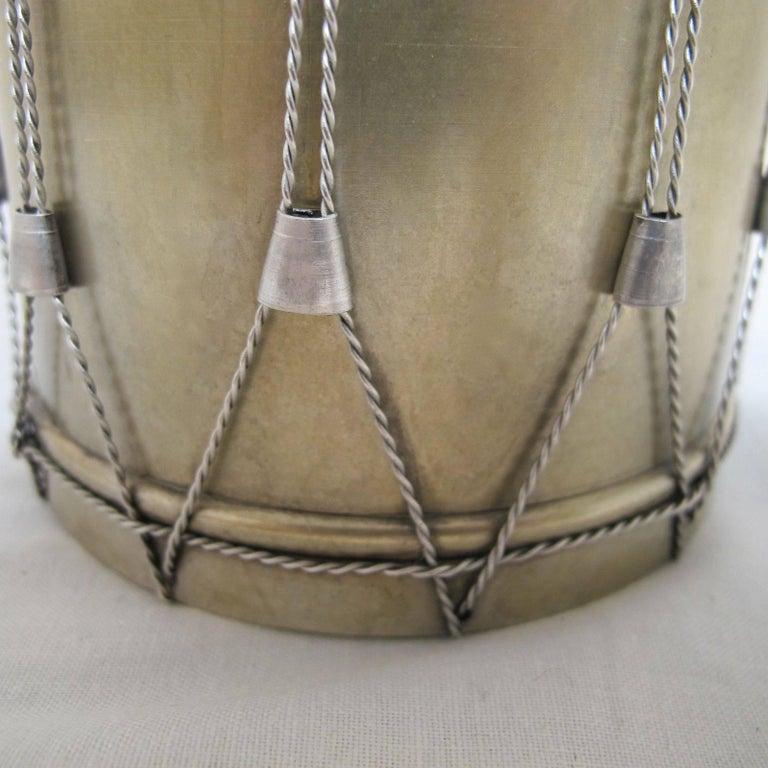19th Century Drum Shape Silver Gilt Bronze Box 6