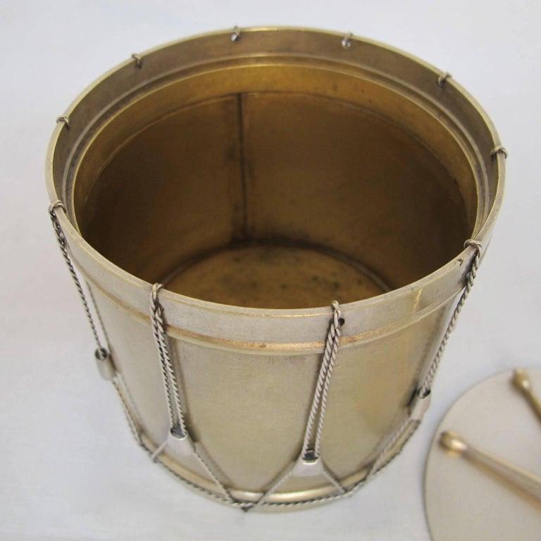 19th Century Drum Shape Silver Gilt Bronze Box 8