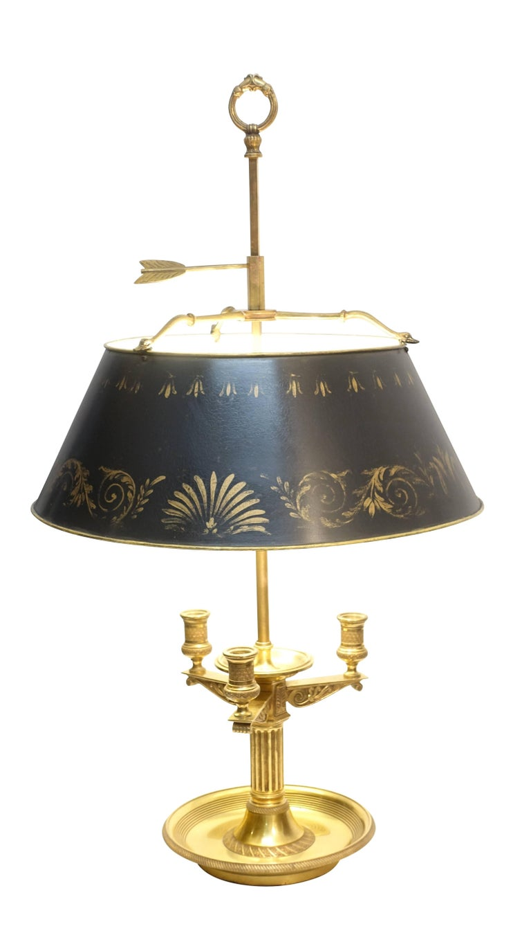 French Empire Style Brass Bouillotte Lamp With Black And
