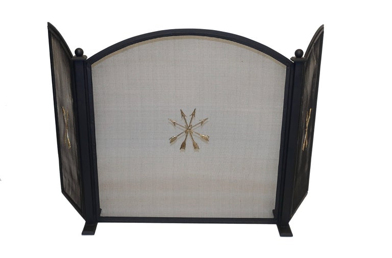 Painted French Empire Style Wrought Iron Fireplace Screen For Sale