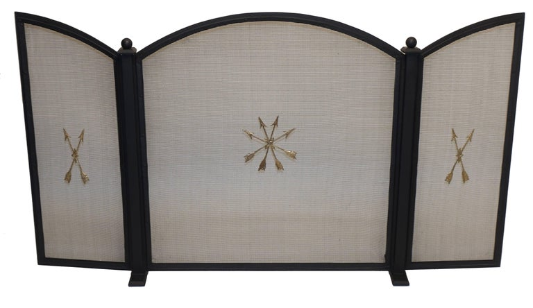 American French Empire Style Wrought Iron Fireplace Screen For Sale