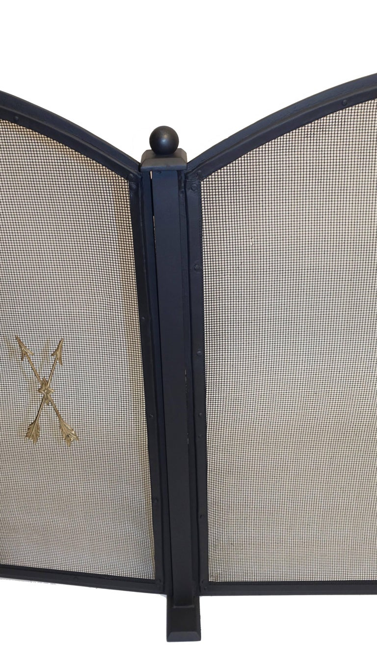20th Century French Empire Style Wrought Iron Fireplace Screen For Sale