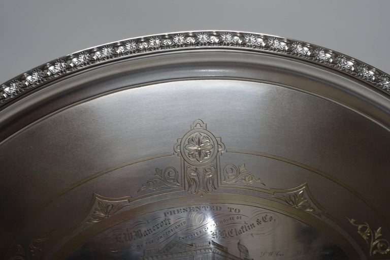 Engraved Large Commemorative Aesthetic Movement Silver Plate Tray, American 19th Century For Sale