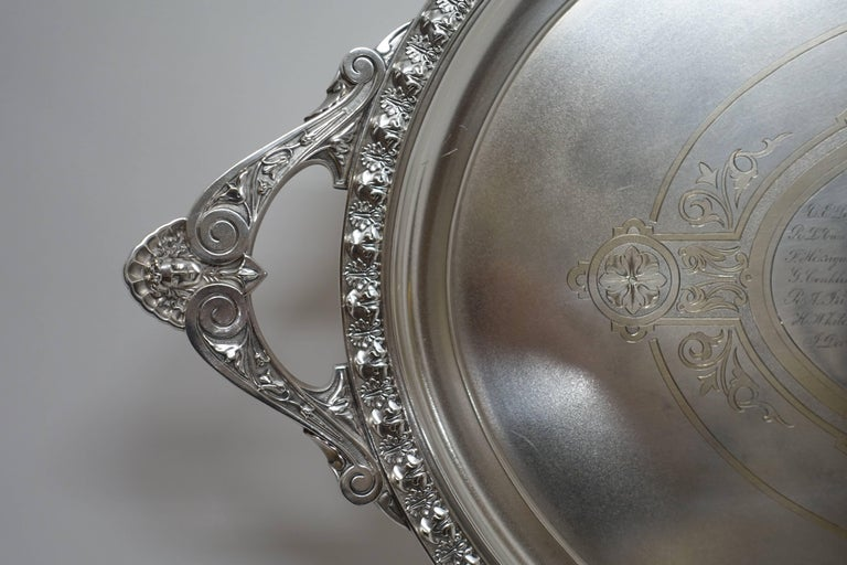 Large Commemorative Aesthetic Movement Silver Plate Tray, American 19th Century For Sale 3