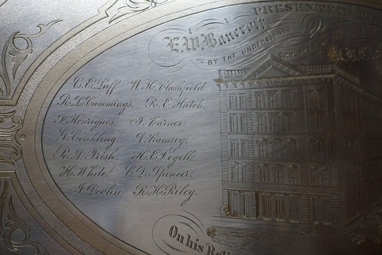Large Commemorative Aesthetic Movement Silver Plate Tray, American 19th Century For Sale 2