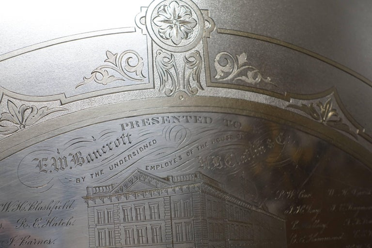 Large Commemorative Aesthetic Movement Silver Plate Tray, American 19th Century For Sale 1