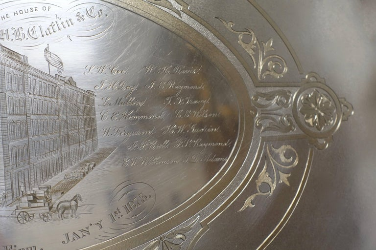 Large Commemorative Aesthetic Movement Silver Plate Tray, American 19th Century In Excellent Condition For Sale In San Francisco, CA