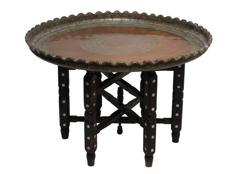 19th Century Persian Copper Tray on Stand Table 2