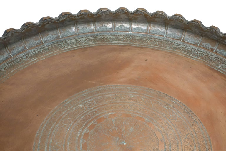 19th Century Persian Copper Tray on Stand Table 8