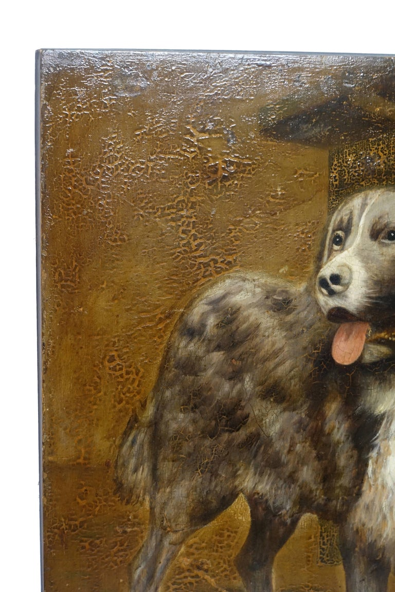 Hand-Painted Dog Portrait Painting, 19th Century, England For Sale