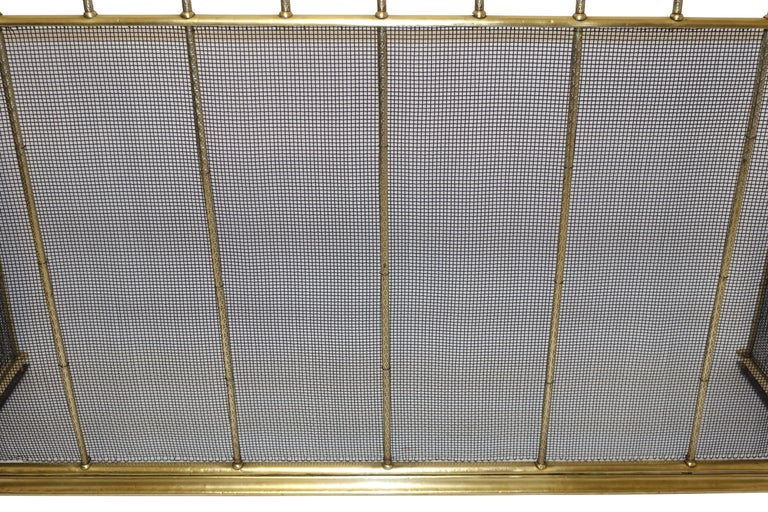 English Large Brass Fireplace Screen with Repose Supports, England 19th Century For Sale