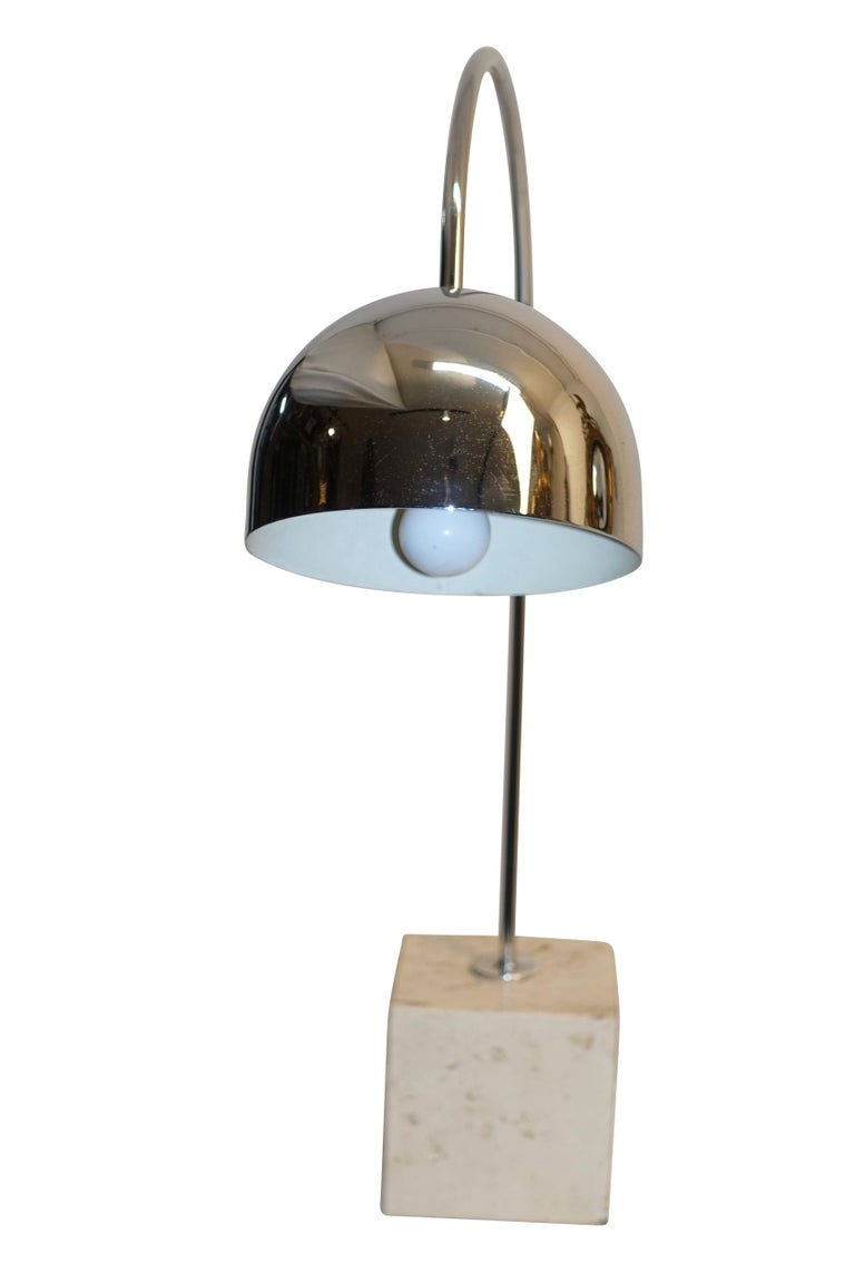 Midcentury Chrome and Travertine Arc Lamp by Harvey Guzzini In Excellent Condition For Sale In San Francisco, CA