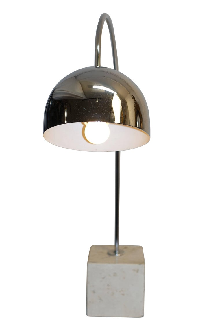 Mid-Century Modern Midcentury Chrome and Travertine Arc Lamp by Harvey Guzzini For Sale