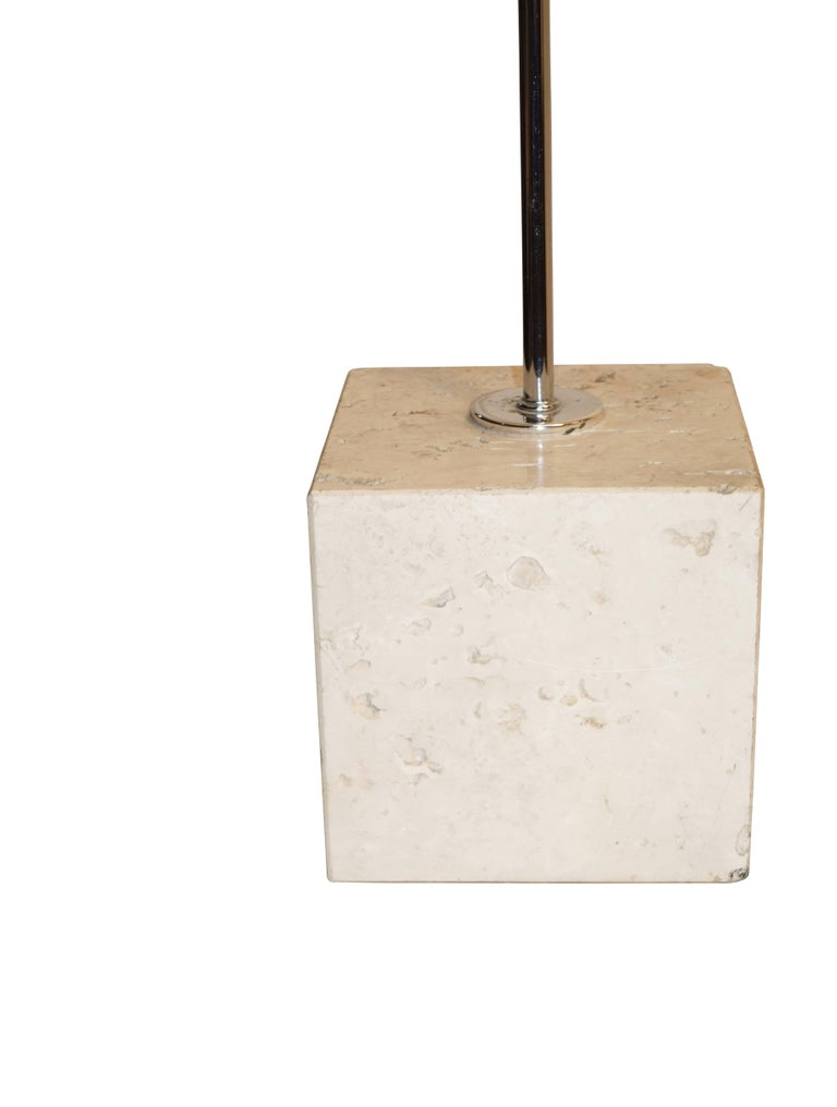 20th Century Midcentury Chrome and Travertine Arc Lamp by Harvey Guzzini For Sale