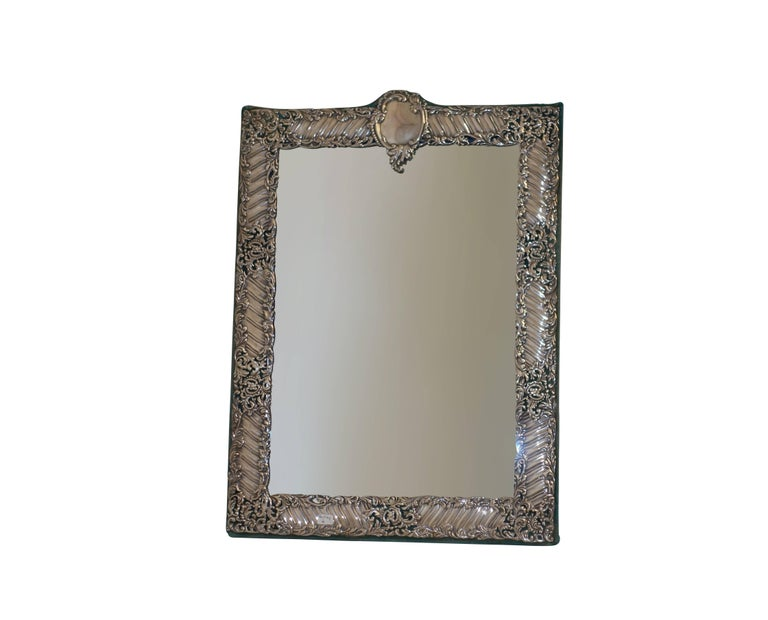 Sterling Silver and Velvet Dressing Table Mirror, England, Late 19th Century 2