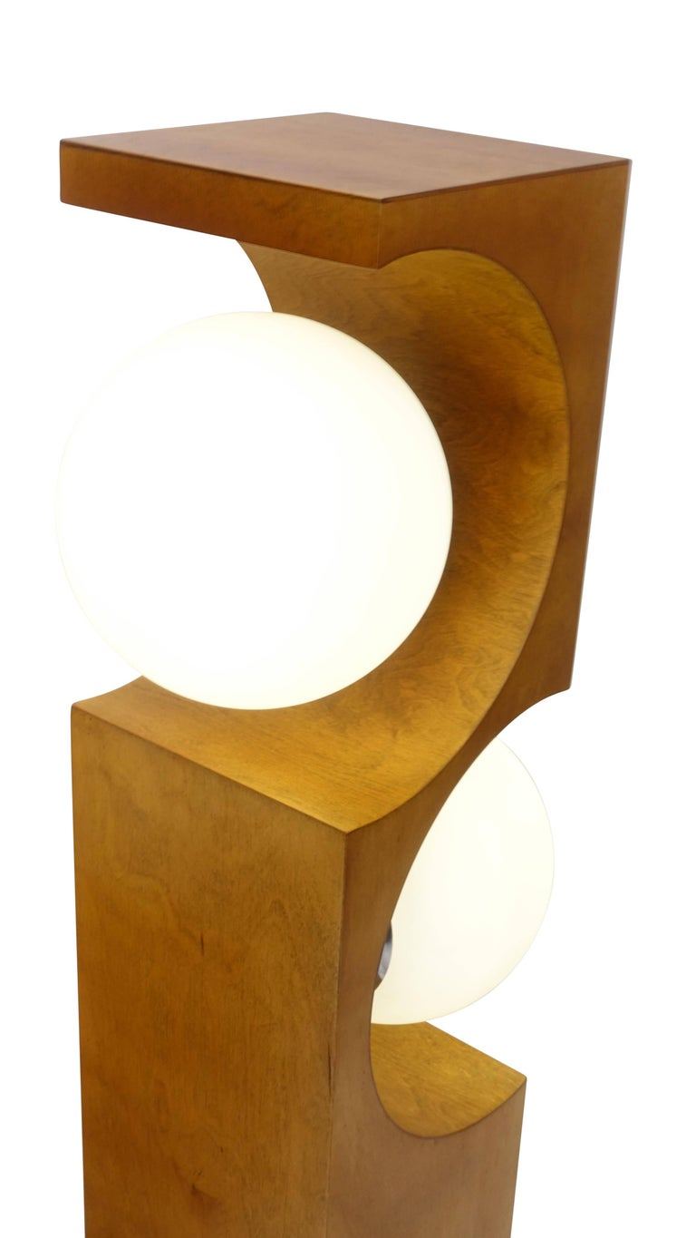 Pair of Mid-20th Century Milo Baughman Wood Cut-Out Lamps For Sale 1