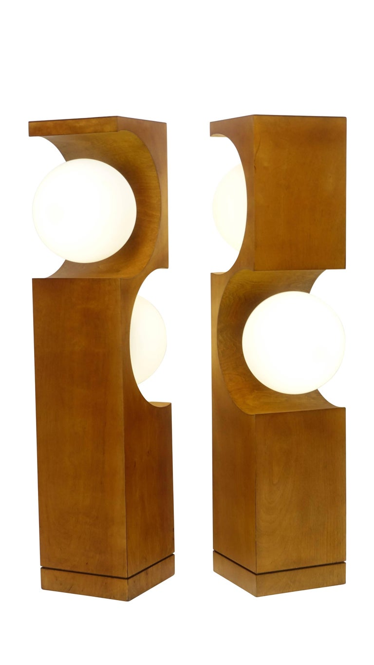 Pair of Mid-20th Century Milo Baughman Wood Cut-Out Lamps For Sale 3