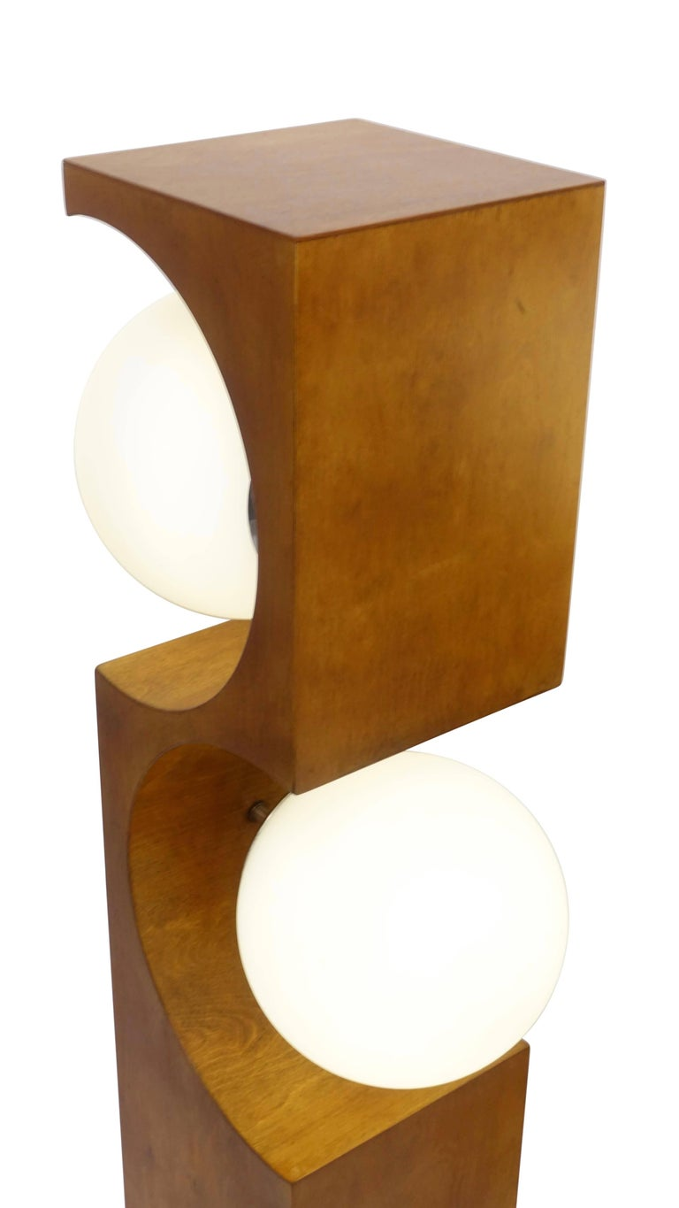 American Pair of Mid-20th Century Milo Baughman Wood Cut-Out Lamps For Sale