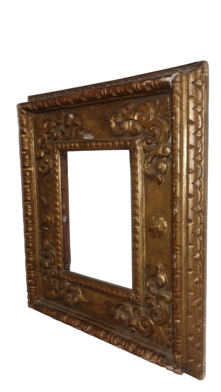 A nicely carved wood and gilt frame, Spanish Colonial, 18th century.