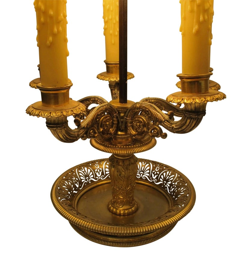 Gilt Bronze Bouillotte Lamp, French, 19th Century For Sale 4