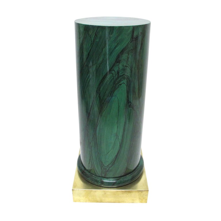 20th Century Faux Painted Malachite Pedestal with Brass Base For Sale