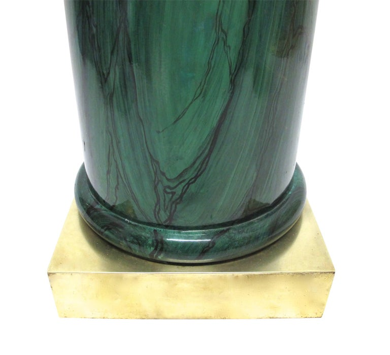 American Faux Painted Malachite Pedestal with Brass Base For Sale