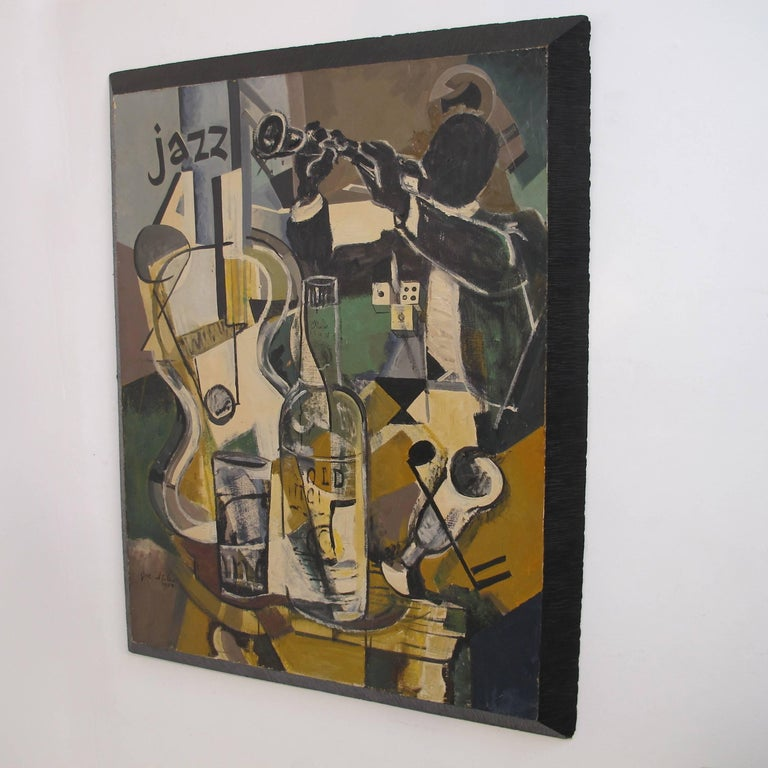 Large abstract Jazz painting in original custom frame. Oil on panel, signed Joe Stiles and dated 1959.