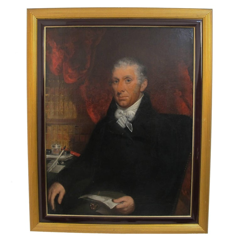 Gentleman Portrait Painting, English, 18th Century For Sale