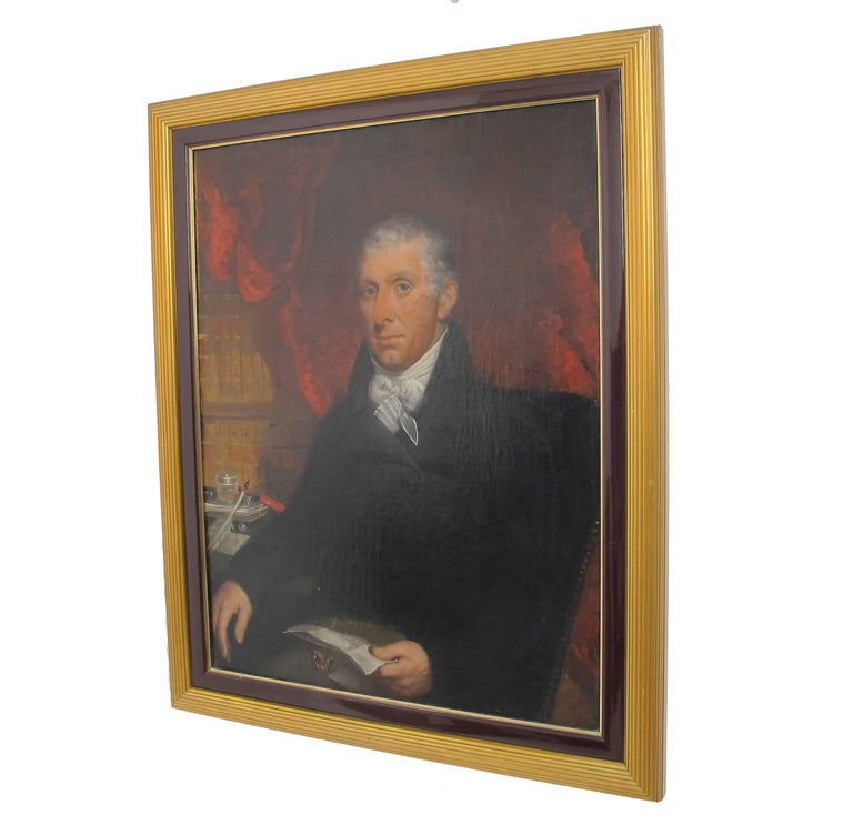 Large oil on canvas portrait painting of a distinguished English gentleman, unsigned. 18th century painting in a newer frame. Painting without frame measures 35.75 high x 27.75 wide.