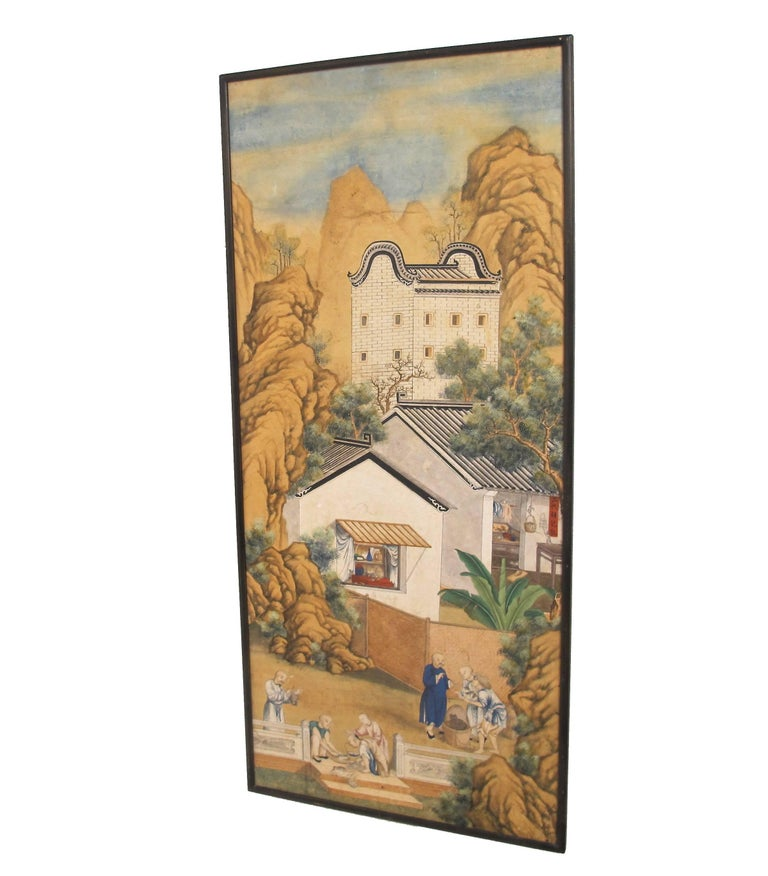 Hand-Painted 19th Century Chinese Watercolor Painting on Paper For Sale