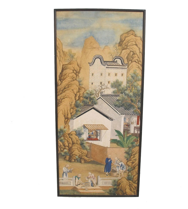 A finely detailed village scene, watercolor painted on paper in wood frame, Chinese, 19th century.