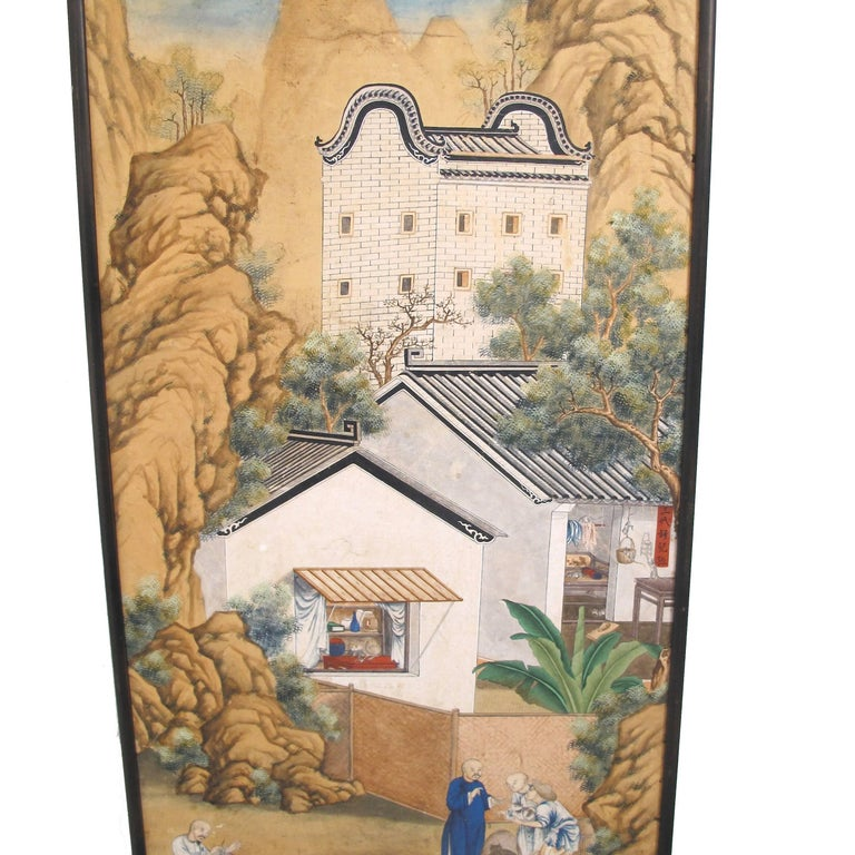 19th Century Chinese Watercolor Painting on Paper For Sale 1
