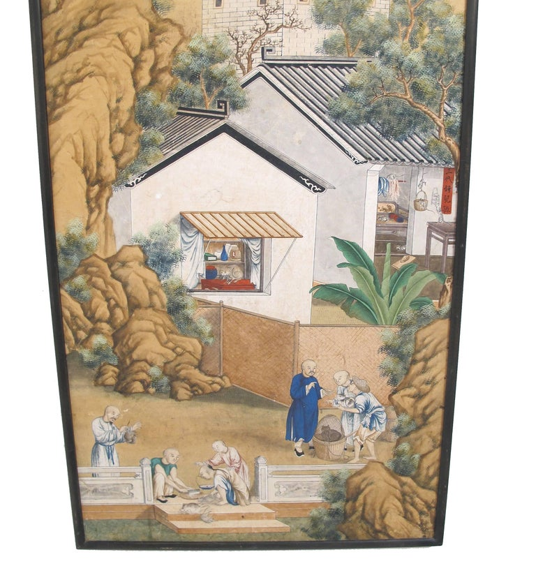 19th Century Chinese Watercolor Painting on Paper In Excellent Condition For Sale In San Francisco, CA