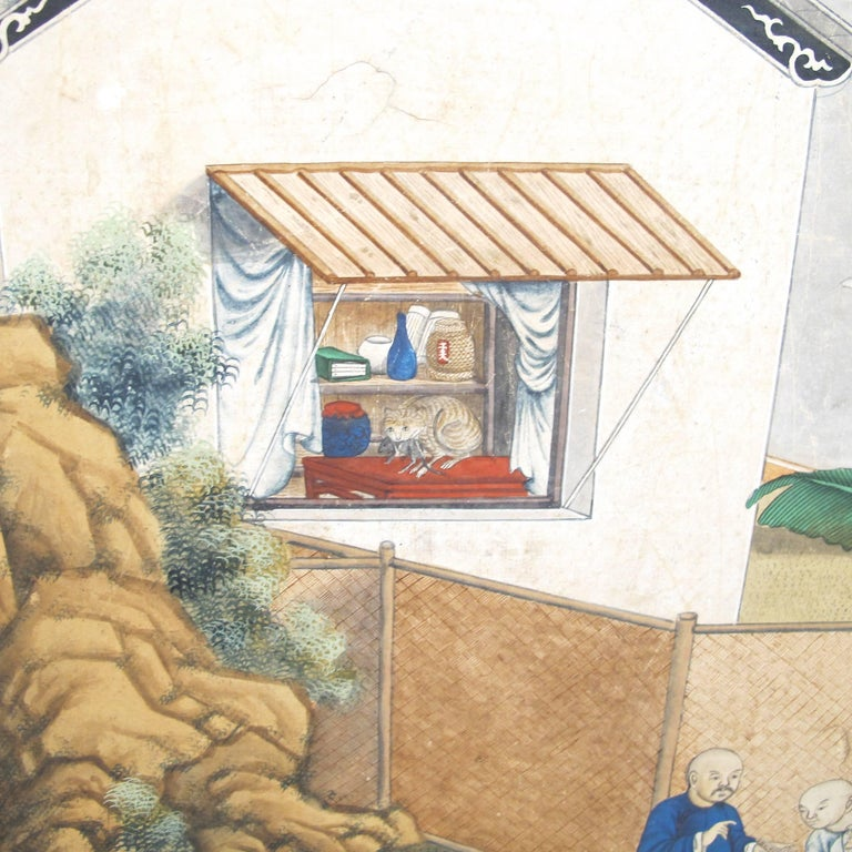 19th Century Chinese Watercolor Painting on Paper For Sale 2