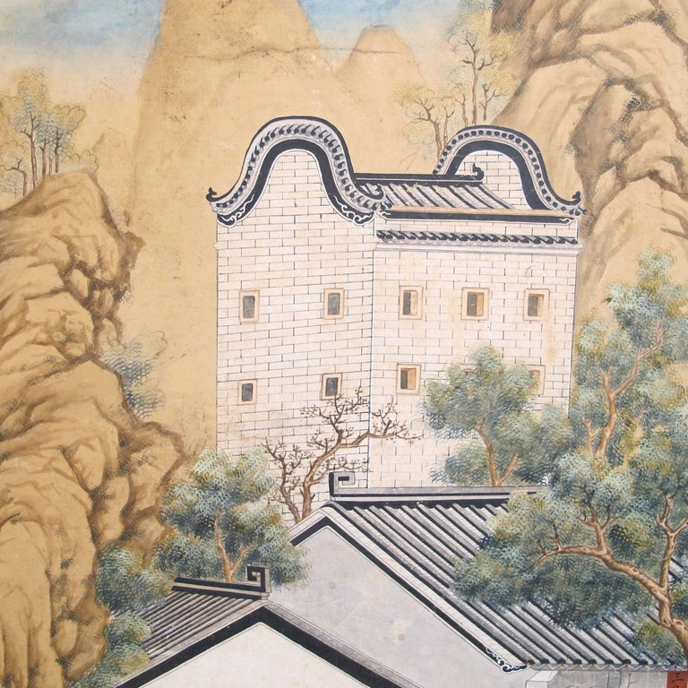 19th Century Chinese Watercolor Painting on Paper For Sale 5