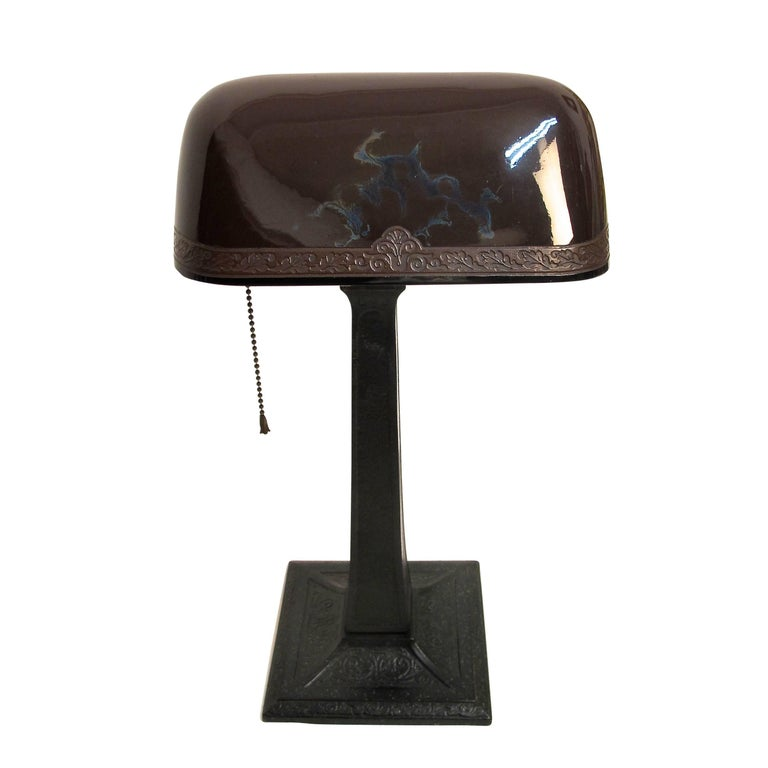 20th Century Emeralite Desk Lamp with Cased Glass Shade, American, circa 1915 For Sale