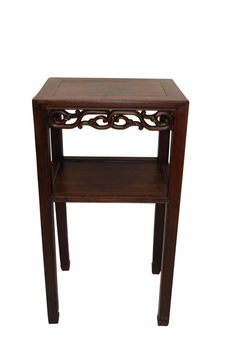 19th Century Chinese Carved Wood Pedestal Stand In Excellent Condition For Sale In San Francisco, CA