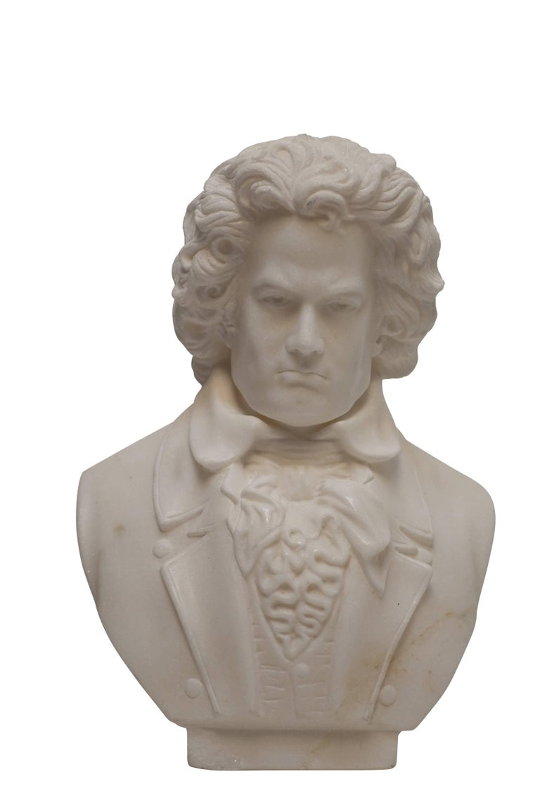 Hand-Carved Carrera Marble Bust of Beethoven, 19th Century For Sale