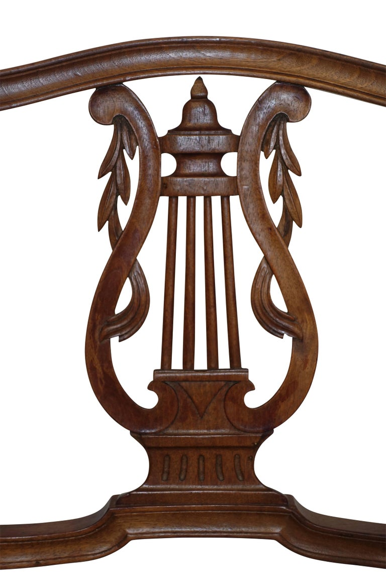 Carved Pair of Neoclassical Walnut Armchairs, Italy, 18th Century For Sale