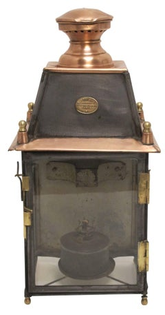 Antique French Copper and Brass Lantern, L. Dorvaux Paris 19th Century
