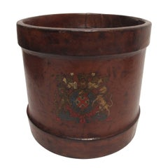 Antique Leather Fire Bucket or Wastebasket, English, 19th Century