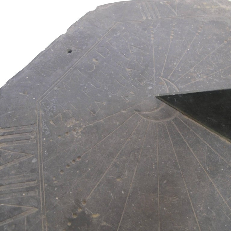 European 16th Century Slate Stone and Bronze Sundial For Sale