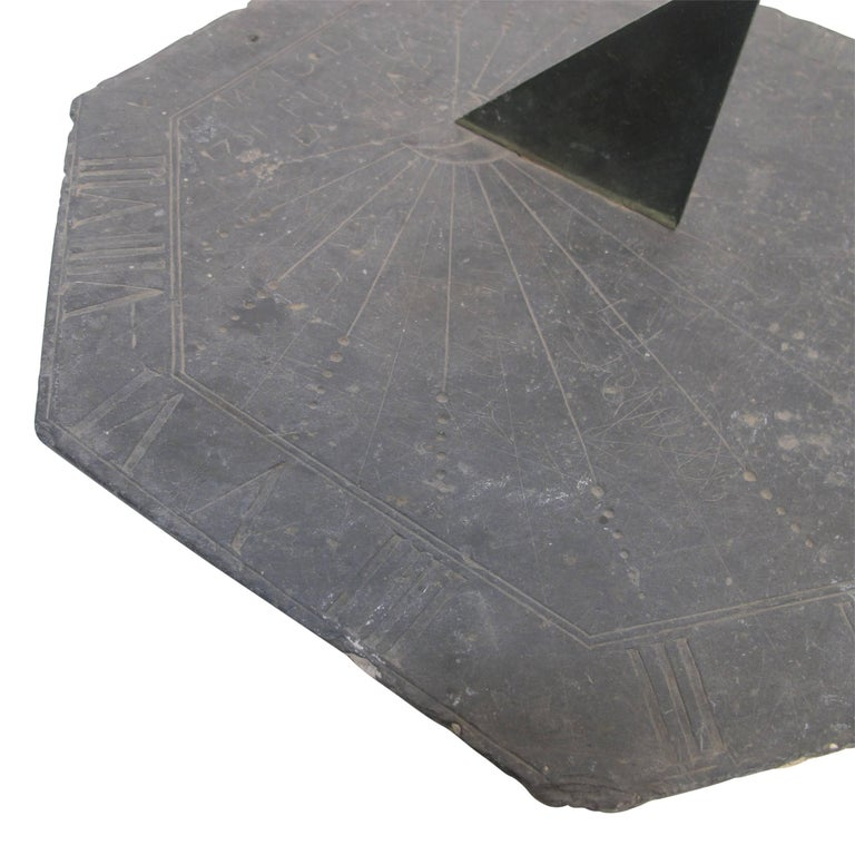 16th Century Slate Stone and Bronze Sundial In Good Condition For Sale In San Francisco, CA