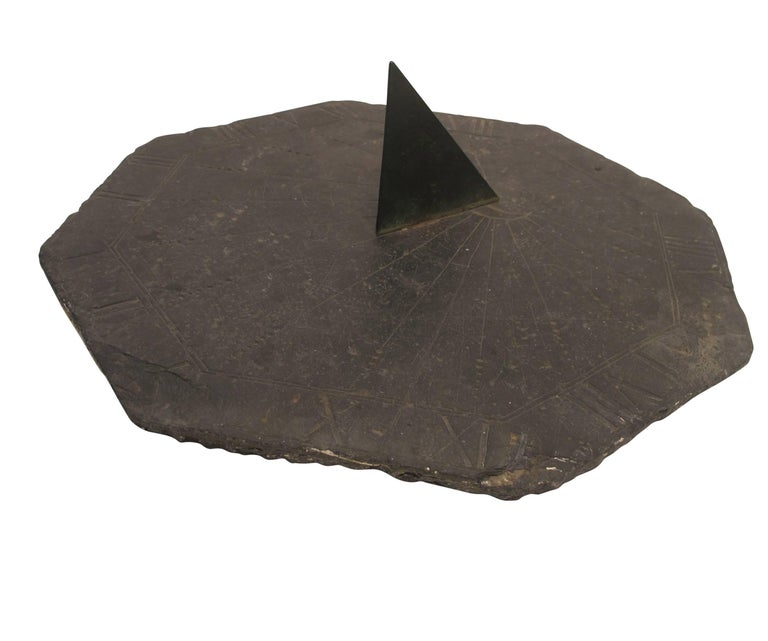 18th Century and Earlier 16th Century Slate Stone and Bronze Sundial For Sale