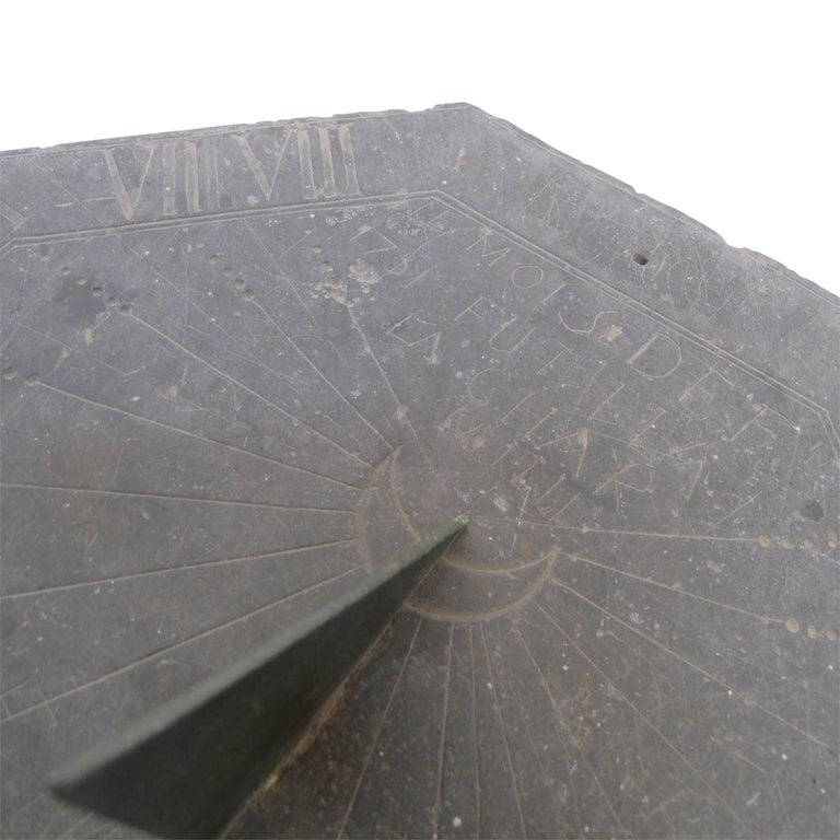 16th Century Slate Stone and Bronze Sundial For Sale 1